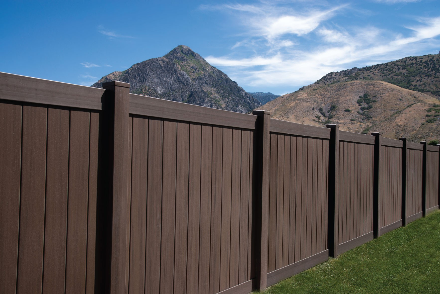 6 Tall Dark Walnut Vinyl Privacy Fence