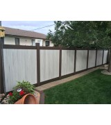 6' Tall Two-Tone Weathered Aspen w/ Dark Walnut Frame Vinyl Privacy Fence