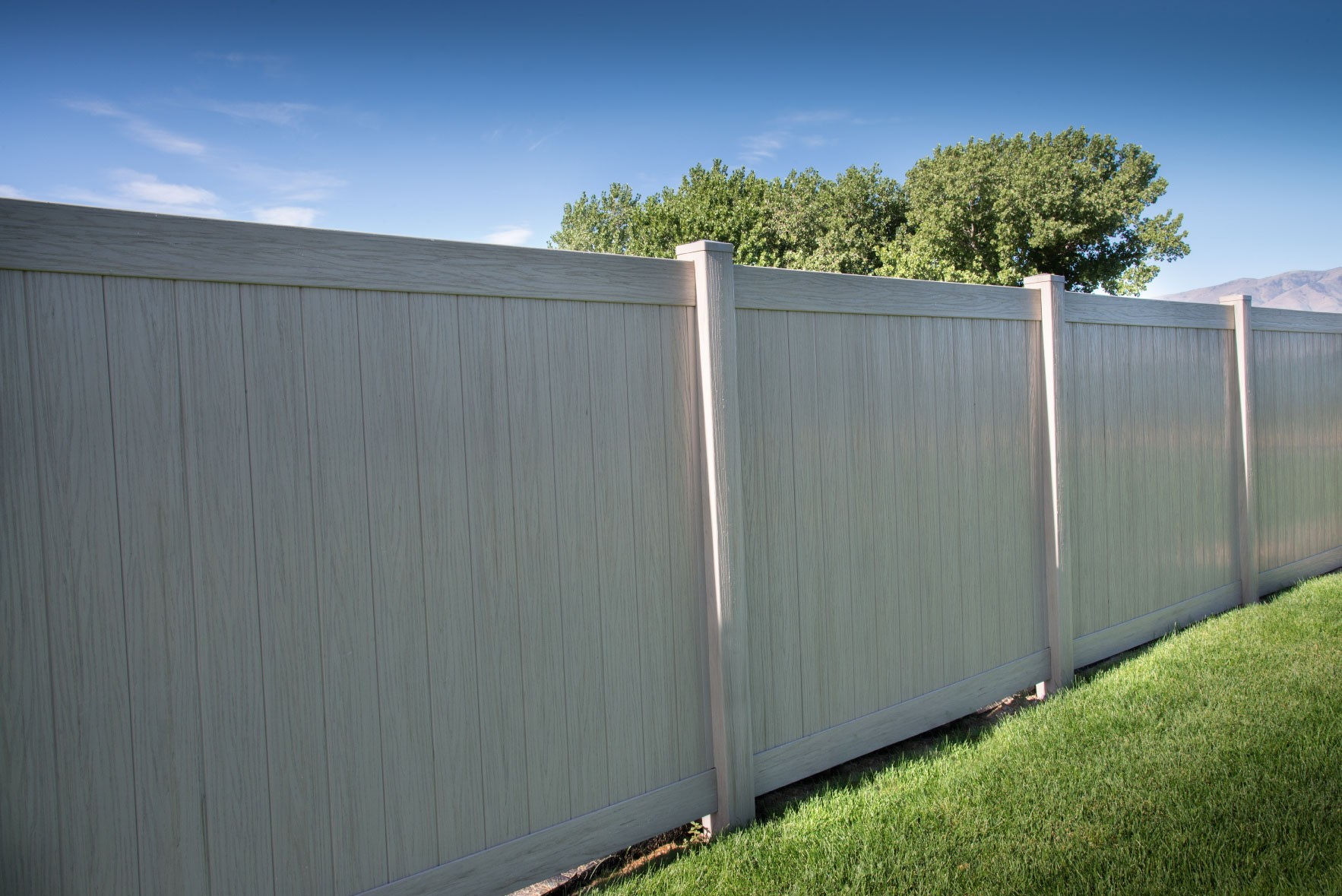 6' Tall Driftwood Smooth Vinyl Privacy Fence