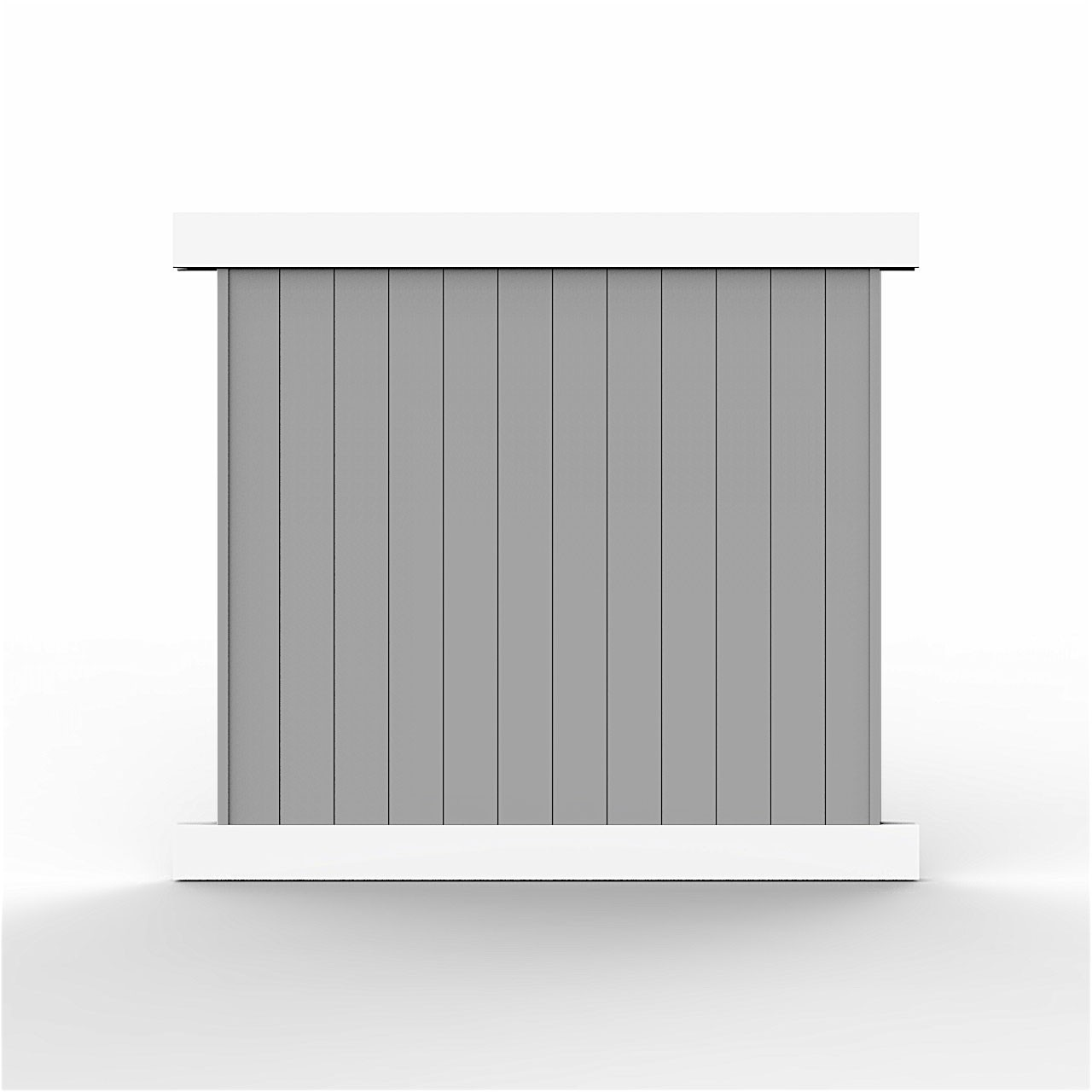 6' Tall Classic Privacy Two-Tone Gray w/ White Frame